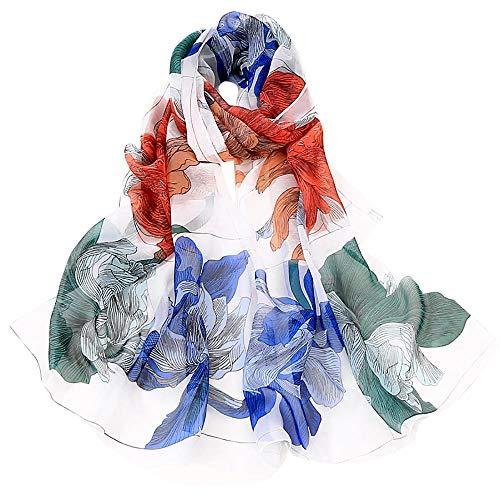 Xmiral Damen Schal Feine Linien Drucken Stilvolle weiche Schal Schal Hals Wrap Kopftuch Stola(Beige)