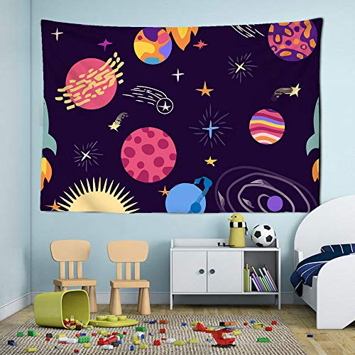 DFGNMB tapices de luna rosa y cielo estrellado, decoración del hogar de alta calidad, se puede lavar sin decolorarse, se puede usar en la sala de estar, dormitorio, dormitorio130 * 150