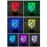 FC Club Atlético de Madrid Luz nocturna LED Ilusión 3D para niños La Liga Soccer Logo Atletico Night Lamp Table Bedside
