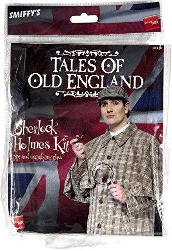 Smiffys Herren Sherlock Holmes Set, Kostüm Pfeife und Lupe, One Size, Schwarz, 30370