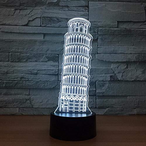 YUNZHIFU Turm von Pisa 3D Nachtlicht Hologramm Led Licht Usb dekorative Torre Pendente Di Pisa Tischlampe Home Deco Geschenk für Freunde Kinder