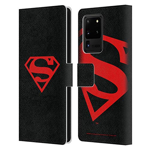 Head Case Designs Officially Licensed Superman DC Comics Black and Red Logos Leather Book Wallet Case Cover Compatible with Samsung Galaxy S20 Ultra 5G