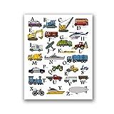ABC Transport Druck BAU LKW Poster Kinderzimmer Alphabet