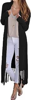 Womens Lapel Open Front Tassel Hem Cardigan Coat Warm Long Outwear Overcoats