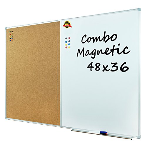 "Lockways Dry Erase Board & Cork Bulletin Board Combination - 48 x 36 inch Magnetic Whiteboard & Corkboard, 4 x 3 Feet, Ultra-Slim Silver Aluminium Frame (48""x36"", Sliver)"