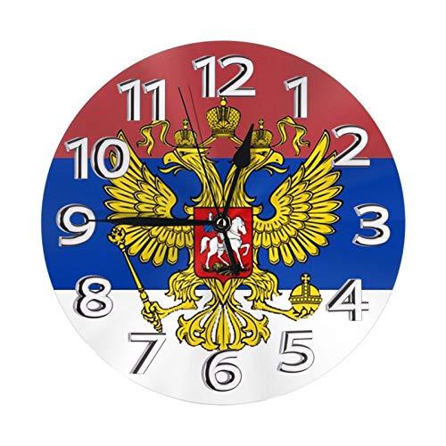 Kasonj Moderne Wanduhr mit russischer Flagge, zum Selbermachen, rahmenlos, groß, ideal für jeden Raum zu Hause, Esszimmer, Küche, Büro, Schule