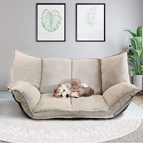 Floor Sofa Adjustable Lazy Sofa Futon Bed Sofa Lounge Couch for Reading Gaming Rest | Detachable Cushion Cover | Beige