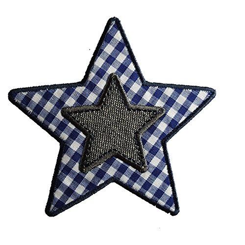 Blauwe ruiten ster 9 x 9 cm opstrijkapplicatie strijkafbeelding stof patch kleding om op jas te strijken deurplaat deken broek vaandel hemd jurken pet rok turnzak halsdoek wimpel rugzak tas tas