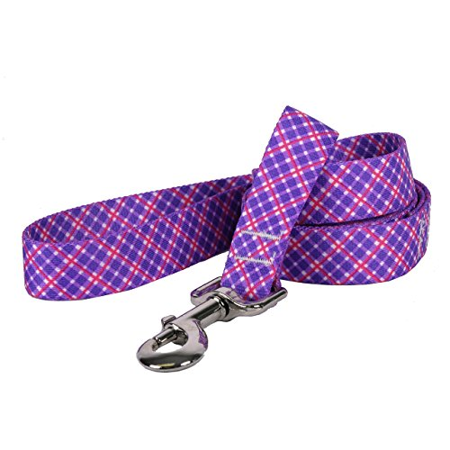 "Yellow Dog Design Purple and Pink Diagonal Plaid Dog Leash, X-Large-3/8"" Wide"