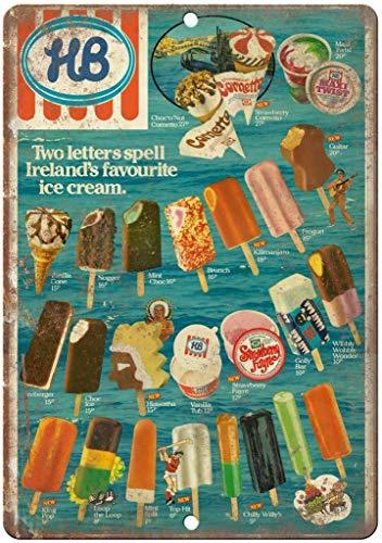 HiSign HB Ice Cream Ireland Menu Blechschilder Metall Poster Warnschild Retro Schilder Blech Blechschild Wanddekoration Malerei Bar Cafe Küche Garten