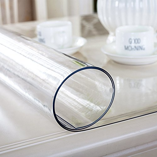RUOYOU Anti-caldo Tovaglie,Impermeabile Coperchio della tabella,Pvc Panno della tabella Bicchiere Piatto di cristallo Trasparente Tovagliette all'americana Per Home Cucina 90x140cm(35x55inch) 1mm-J