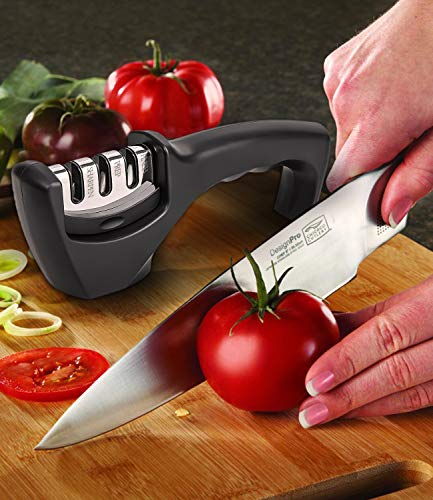 Knife Sharpener 3-Slot Quality Kitchen Knife Accessories to Repair, Grind, Polish Blade,Professional Knife Sharpening Tool for Kitchen Knives ,Easy Manual Sharpener with Cut-Resistant Glove