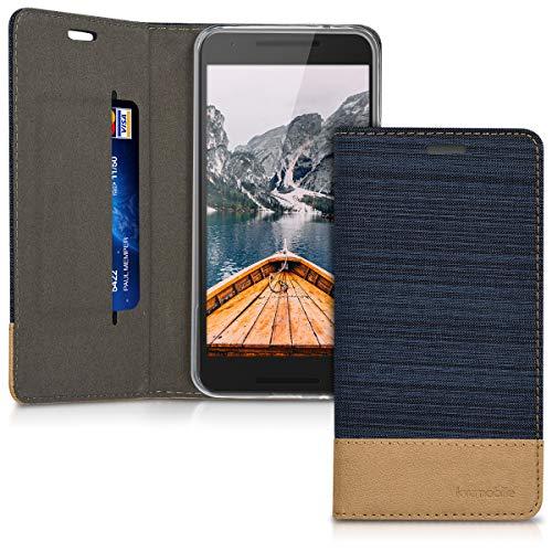 kwmobile LG Google Nexus 5X Hülle - Stoff Handy Cover Case mit Ständer - Schutzhülle für LG Google Nexus 5X - Dunkelblau Braun