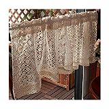 Siunwdiy Cortinas de celebración Bistrogardine Window Half Cortina Crochet País Estilo CÓDIGO Moderno CÓDIGO CÓDIGO Moderno RODENRIFT ShORTGARDINE 1PCS,W200*H60cm