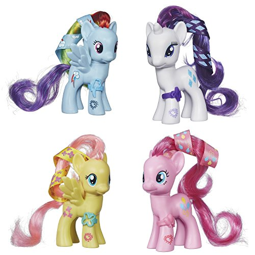 My Little Pony Cutie Mark Magic Rainbow Dash, Rarity, Pinkie Pie & Fluttershy Set of 4 Pony Figures