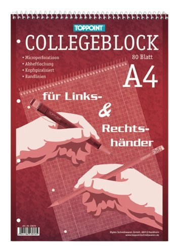 Toppoint Collegeblock DIN A4, 12er Pack, kariert, für Rechts & Linkshänder, 80 Blatt, holz- und chlorfreies Papier, weiss (12er Pack, kariert)