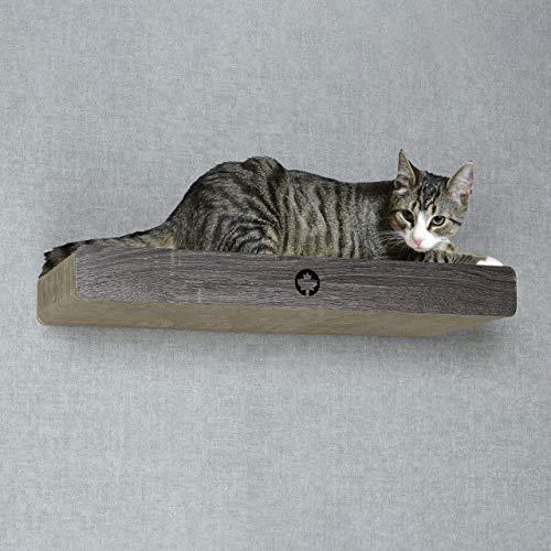CanadianCat Company ® | Kratzbrett mit verdeckter Wandbefestigung Cloud | dunkelgrau | ca. 70 x 30 x 8 cm Kletterwand Katze Catwalk