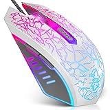 VersionTECH. Mouse Gaming con Fili, Mouse da Gioco Bianco,sensore Ottico Fino a 2400 DPI, 6 Tasti e Illuminazione a LED con 7 Colori