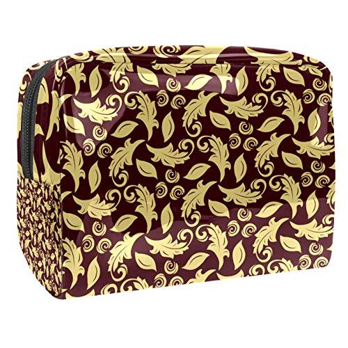 Bolso Cosmético Buganvillas Marrones Bolso de Maquillaje Bolsa de Almacenamiento portátil Estuche de Maquillaje con asa Makeup Toiletry Bag 18.5x7.5x13cm
