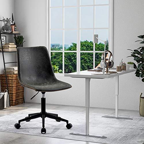 ModernLuxe Bürostuhl ohne Armlehnen, ergonomischer Computerstuhl, Schreibtischstuhl, ohne Armlehnen, Drehstuhl, Heimbüro, Schlafzimmer (dunkelgrau)