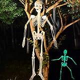 spier Bruja esquelética colgante decoración de Halloween – 35.4 pulgadas esqueleto luminoso para colgar articulaciones flexibles esqueleto al aire libre loco aterrador accesorios para colgar