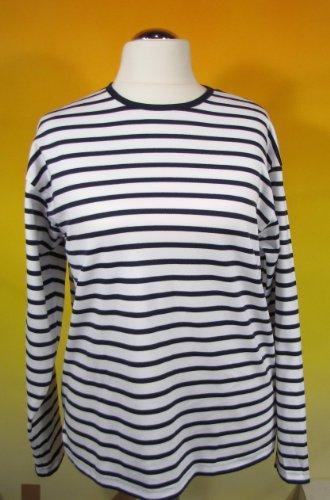 Bretonisches Hemd mit Rundhalsausschnitt Streifen weiß / blau gestreift 2500_04 von Modas Größe 44 (Damen) / 52 (Herren)