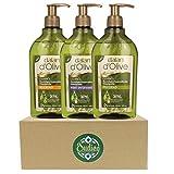 OUDIEN 3er Set dalan d'Olive Flüssigseife je 300ml, Seife flüssig im Spender, Handwaschseife pH...