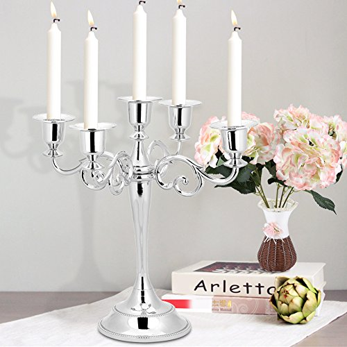 Ichiias Candeliere in Metallo Vintage a 5 Braccia, portacandele in Metallo, per Tavolo da Pranzo per Matrimoni Decorazioni per Feste Natalizie Decorazioni per Feste per Matrimoni(Silver)