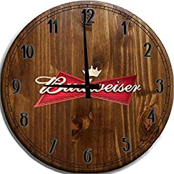 TBA Large Wall Clock Budweiser Beer American Lager Bar Sign Home Decor Classic Walnut 18 inch Wall Decor
