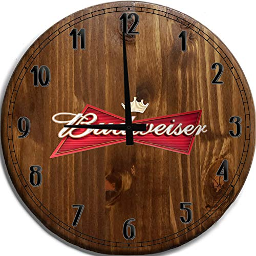 TBA Large Wall Clock Budweiser Beer American Lager Bar Sign Home Decor Classic Walnut 18 inch Wall...