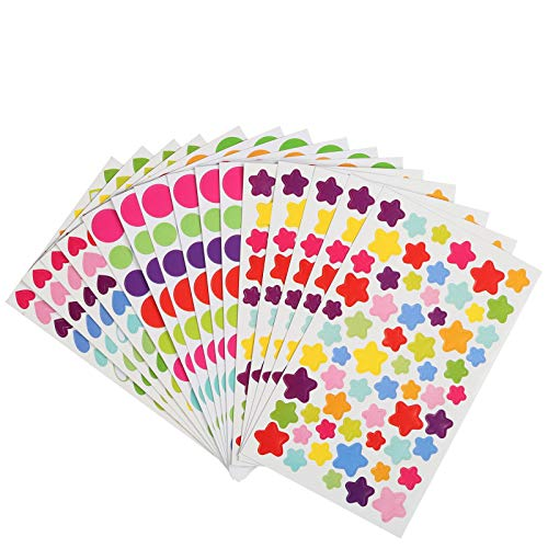 Kesote 72 Hojas de Pegatinas Decorativas de Colores en 3 Formas de Estrellas, Corazón y Punto, álbum de Recortes, álbum de Fotos y Bricolaje