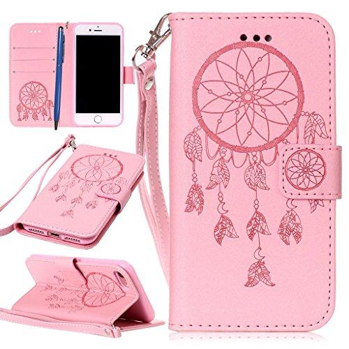 CareyNoce Custodia in Pelle Per iPhone 7,Campanula,Rose Fiore,Cranio,Portafoglio Flip PU Cuoio Caso Per iPhone 7,Apple iPhone 7 (4.7 pollice) Protettiva Cover - Rosa Campanula