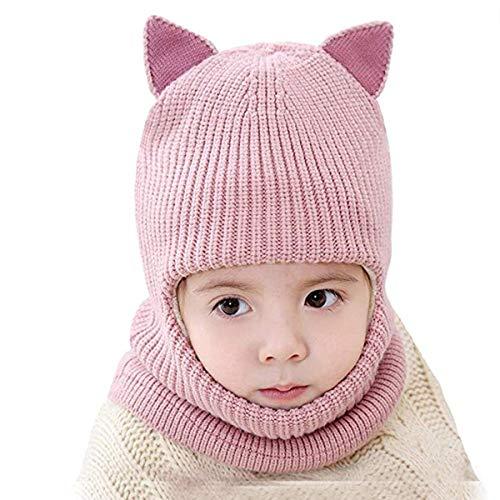 vamei Enfants Bonnet Echarpe Cape Hiver Chapeau Chaud bébé en Tricot Pom Toddler Cagoule Balaclava Cache-Cou Masque Tour de Cou Coupe-Vent en Tissu Filles Garçons Bébés (Oreilles Roses)