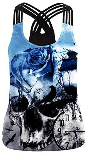 Ocean Plus Mujer Verano Sin Mangas Strappy X Back Tank Top Criss Cross Chaleco Camiseta té (M (EU 34-36), Reloj del cráneo)