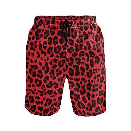 Mens Swim Trunks Red Leopard Print Cheetah Beach Board Shorts Quick Dry Swim Shorts with Pockets
