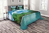 ABAKUHAUS Bunt Tagesdecke Set, Exotische Küste von Maya Bay, Set mit Kissenbezügen farbfester Digitaldruck, 220 x 220 cm, Azurblau & Multicolor