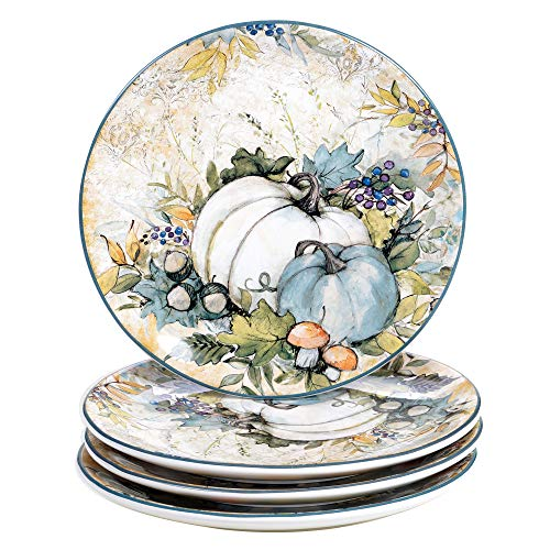 Certified International Harvest Gatherings 9' Salad/Dessert Plates, Set of 4, Multicolor