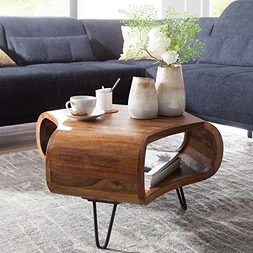 KADIMA DESIGN Couchtisch Sheesham Massiv Holz Ablage Metallgestell Retro Wohnzimmertisch rechteckig Massivholz Braun Sofatisch Mordern Holztisch Tisch mit Fach Wohnzimmer HxBxT:38x55x55cm Braun