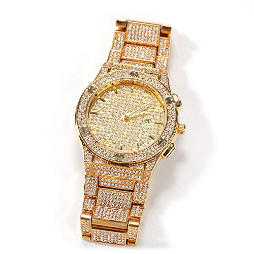 Hip Hop Full Diamond Watch Fashion Quartz Aleación analógica Pulsera Reloj de Pulsera Iced out Calendario Reloj Crystal Bling Rhinestone Reloj de Pulsera 10 Metros Reloj Impermeable