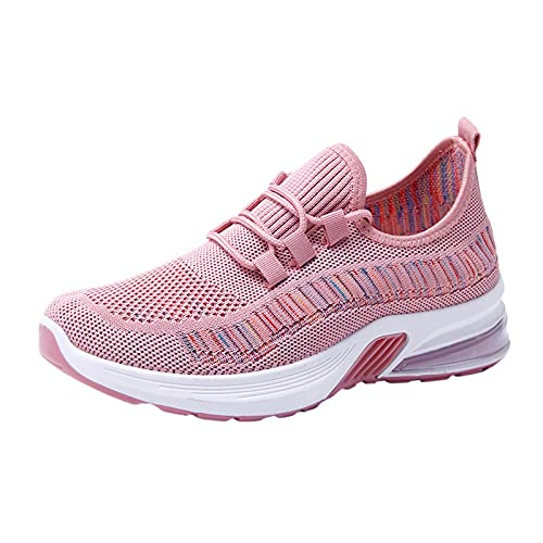 URIBAKY - Zapatillas de running para mujer, con suelas gruesas y acolchadas a la moda, transpirables, zapatillas de deporte, rosa, 38 EU