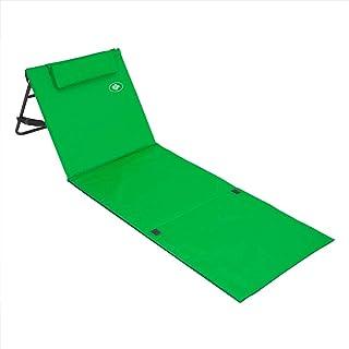 Estera de playa plegable portátil con respaldo ajustable y reposacabezas 158x56cm bolsillo de almacenamiento viajes picnic