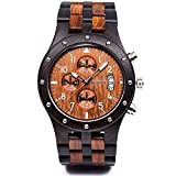 Best Wood Watches - Bewell W109D Sub-dials Wooden Watch Quartz Analog Movement Review