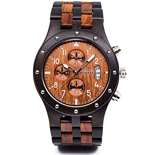 wood watches with dates Bewell W109D Sub-dials Wooden Watch Quartz Analog Movement Date Wristwatch for Men