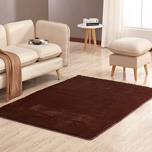 Alfombra de felpa sedosa y peluda, alfombra antideslizante para el piso de la sala de estar, alfombra minimalista moderna-Brown_80 * 160cm, alfombras de cabecera de alfombra de felpa sedosa y peluda