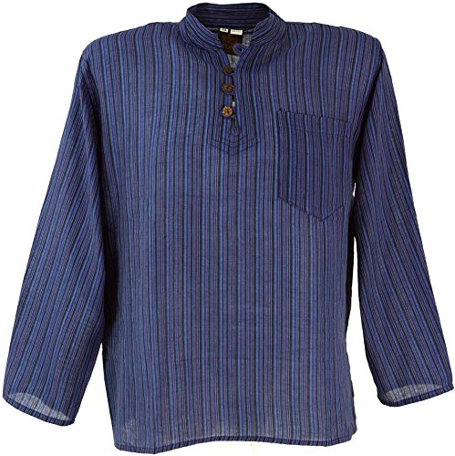 GURU SHOP Nepal Fischerhemd, Gestreiftes Goa Hippie Hemd, Yogahemd, Herren, Blau, Baumwolle, Size:44, Hemden Alternative Bekleidung
