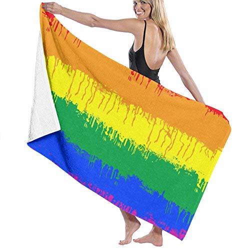 WKLNM Super Zachte 100% Polyester Badhanddoeken LGBT Gay Lesbische Vlag Snelle Droge Handdoeken Yoga Handdoek Sauna Handdoekenlakens, Machine Wasbaar Zeer absorberende Badlakens