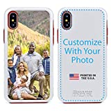 Guard Dog Custom iPhone Xs Max Cases - Personalized - Make Your Own Protective Hybrid Phone Case (White, Red)