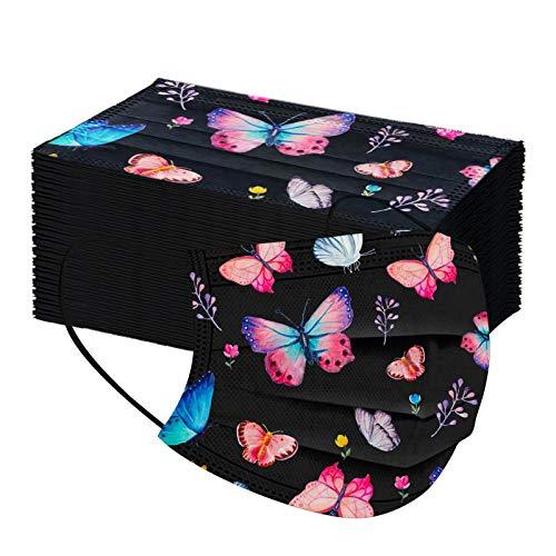 SicongHT 10/50 Stück Einweg Mund und Nasenschutz für Erwachsene Multifunktion Bandana Mode Schmetterling Druck Bandana Einweg 3-lagig Atmungsaktiv Halstuch Schals(50Stück,H)