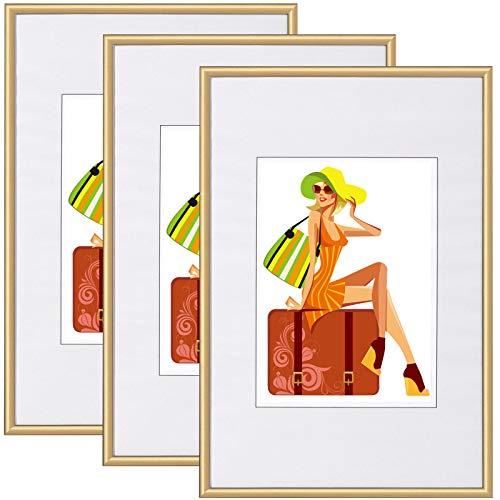 WOLTU BR9864gd-3 Bilderrahmen 3er Set mit Passepartout Kunststoff Rahmen, Glasvorderseite, Gold, 30x40 cm