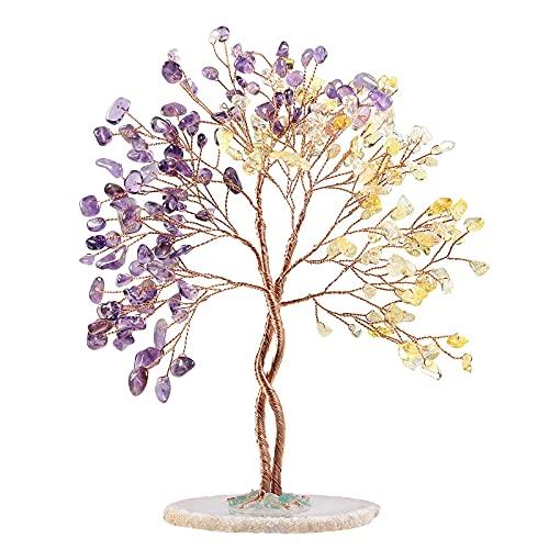 Nupuyai Árbol de cristal Feng Shui, árbol de piedras preciosas, árbol de...